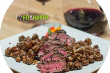 New York Strip Steak and Mushrooms