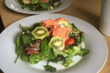 Poached Salmon Salad with egg, garlic and raspberry aioli